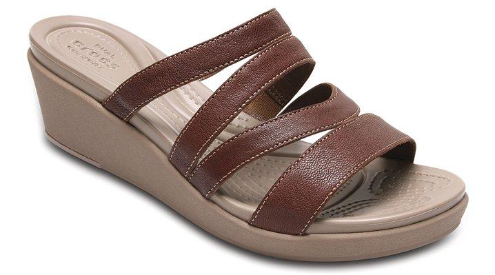Crocs Bronze Women's Crocs Leigh-Ann Leather Mini Wedge Shoes