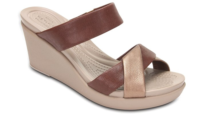 Crocs Bronze Women's Crocs Leigh-Ann Leather Wedge Shoes