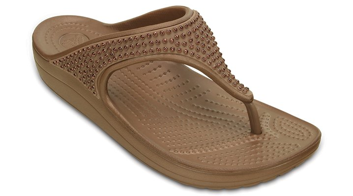 Crocs Bronze Women's Crocs Sloane Diamante Flip Shoes
