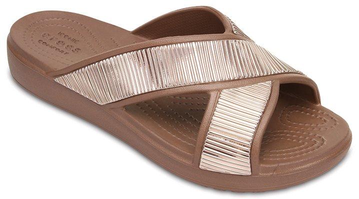 Crocs Bronze / Bronze Women's Crocs Sloane Embellished Cross-Strap Sandals Shoes
