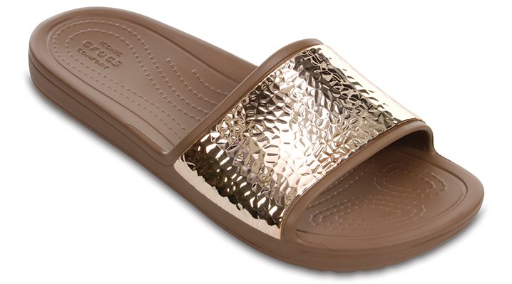 Crocs Bronze / Bronze Women's Crocs Sloane Embellished Slides Shoes