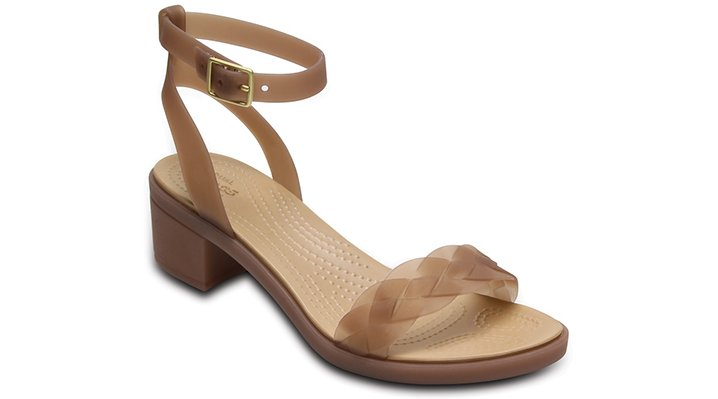 Crocs Bronze / Gold Women's Crocs Isabella Block Heels Shoes
