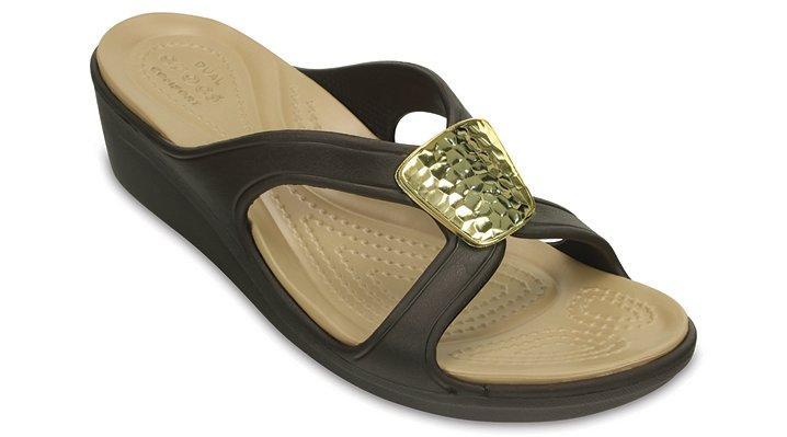 Crocs Bronze / Gold Women's Sanrah Embellished Wedge Shoes
