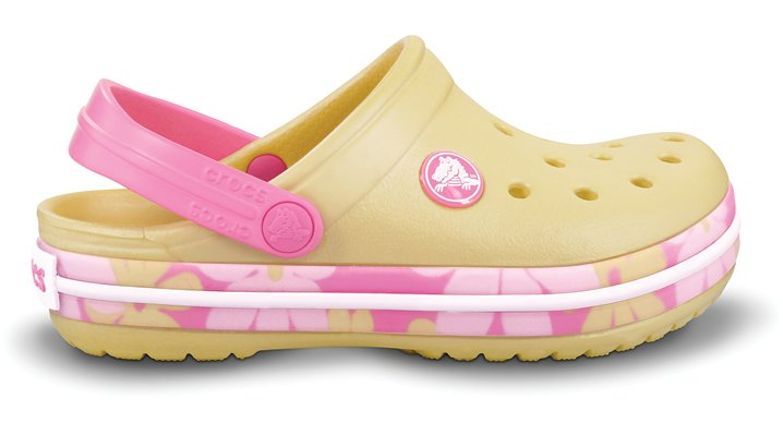 Crocs Buttercup / Pink Lemonade Crocband Tropic Flower Girl's Comfortable Clogs
