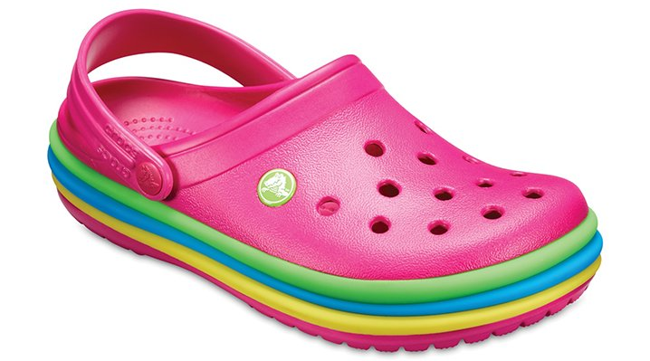 Crocs Candy Pink Crocband™ Rainbow Band Clogs Shoes