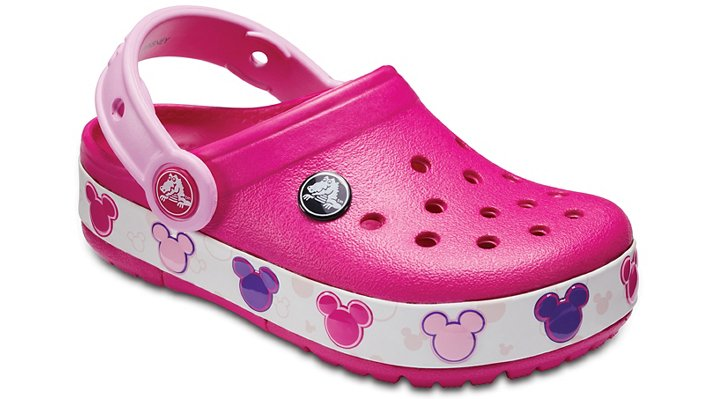 Crocs Candy Pink Kids' Crocband™ Mickey™ Fun Lab Lights Clogs Shoes