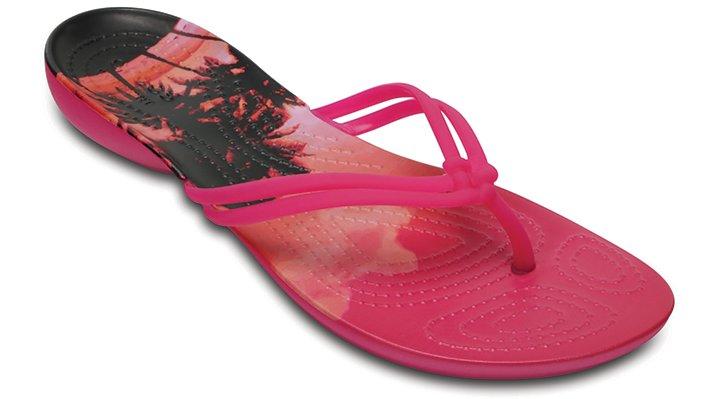 Crocs Candy Pink / Tropical Women's Crocs Isabella Graphic Flip Shoes