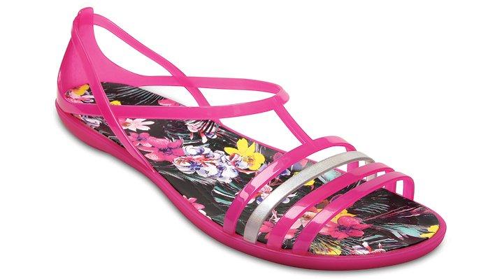 Crocs Candy Pink / Tropical Women's Crocs Isabella Graphic Sandal Shoes