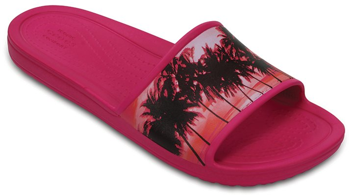 Crocs Candy Pink / Tropical Women's Crocs Sloane Graphic Slides Shoes