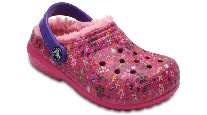 Crocs Candy Pink/Peony Kids' Classic Fuzz Lined Graphic Clog Shoes