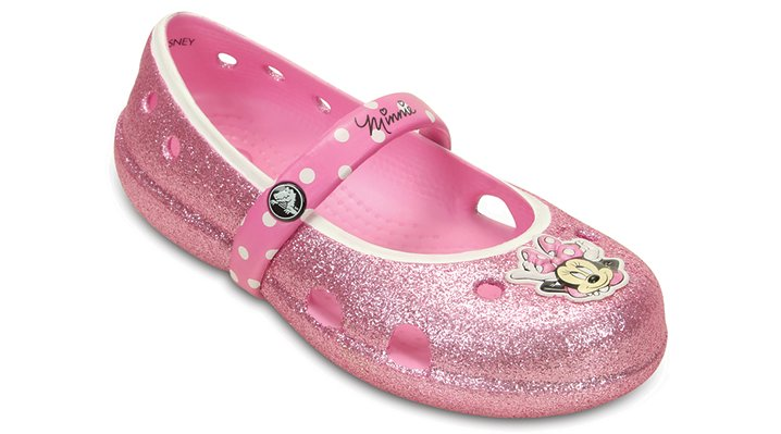 Crocs Carnation Kids' Keeley Minnie Glitter Flat (Children's) Shoes