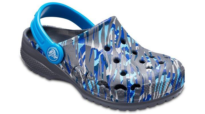 Crocs Charcoal Kids' Baya Graphic Clog Shoes