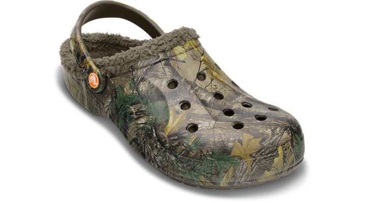 Crocs Chocolate / Chocolate Baya Realtree Xtra® Fuzz Lined Clog Shoes