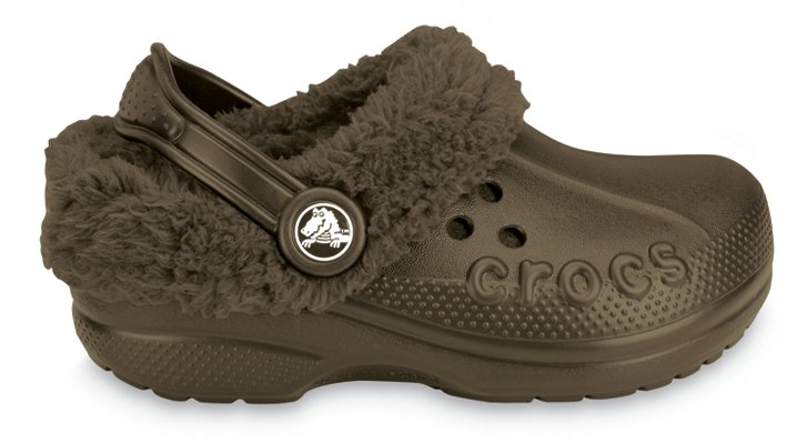 Crocs Chocolate / Chocolate Kids` Blitzen Comfortable Furry Clog