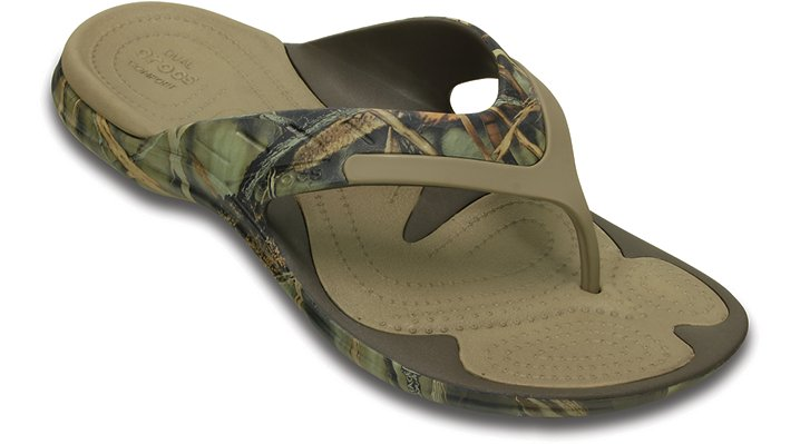 Crocs Chocolate / Khaki Modi Sport Realtree Max-4® Flip Shoes 203472282