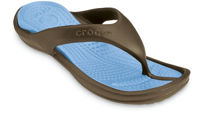 Crocs Chocolate / Light Blue Athens Comfortable Flip Flops