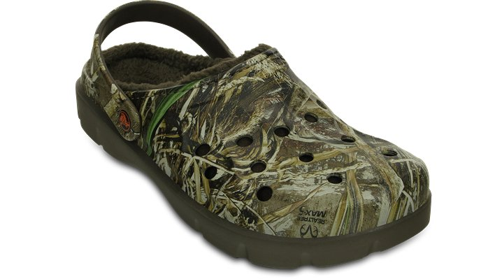 Crocs Chocolate / Orange Dasher Realtree Max-5® Fuzz Lined Clog Shoes