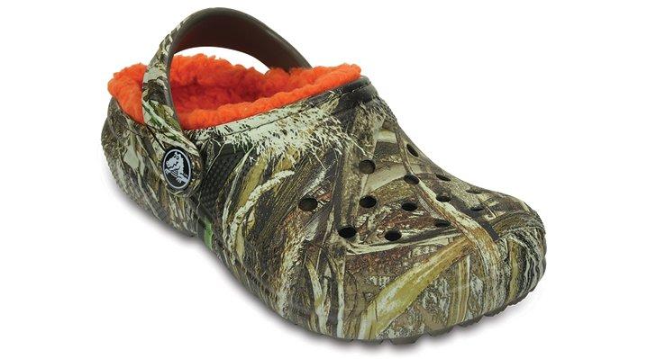 Crocs Chocolate / Orange Kids' Classic Realtree Max-5® Fuzz Lined Clog Shoes