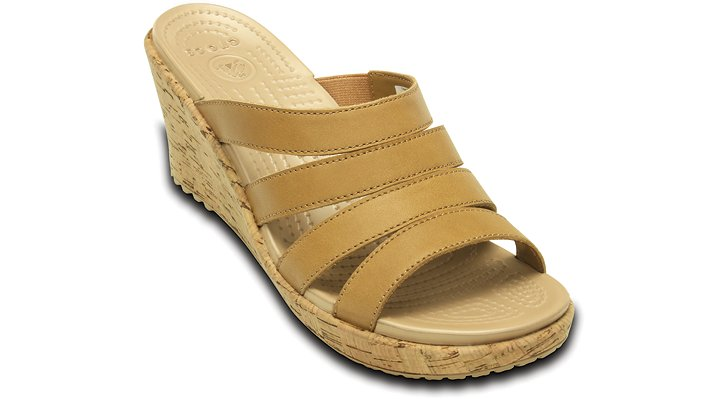 Crocs Cocoa / Gold Women's A-Leigh Leather Sandal Wedge Shoes