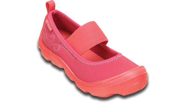 Crocs Coral / Raspberry Girls' Duet Busy Day Mary Jane (Children'S) Shoes