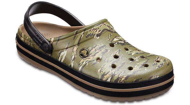 Crocs Dark Camo Green Crocband™ Graphic Clog Shoes