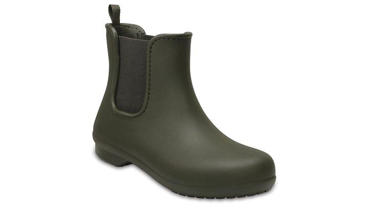 Crocs Dark Camo Green Women's Crocs Freesail Chelsea Boot Shoes