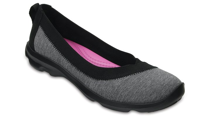 Crocs Dark Grey Women's Busy Day Stretch Heather Flats Shoes