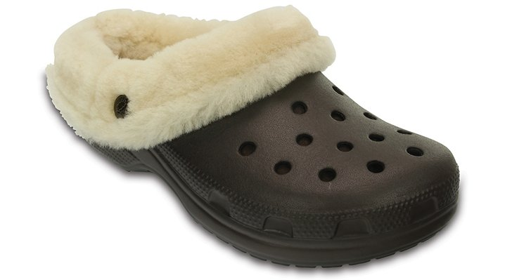 Crocs Espresso Classic Mammoth Luxe Shearling Lined Clog Shoes