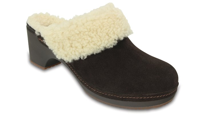 Crocs Espresso Women'S Crocs Sarah Luxe Shearling Lined Clog Shoes