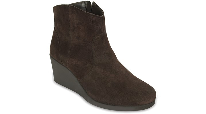 Crocs Espresso Women's Leigh Suede Wedge Bootie Shoes