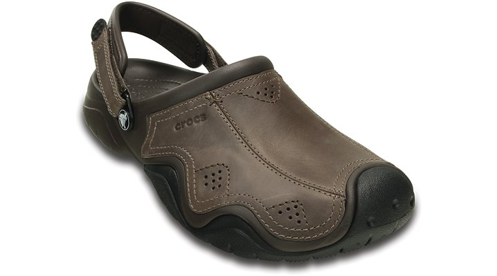Crocs Espresso / Black Men'S Swiftwater Leather Clog Shoes