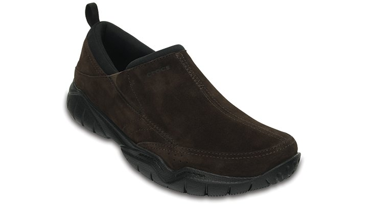 Crocs Espresso / Black Men'S Swiftwater Suede Moc Shoes