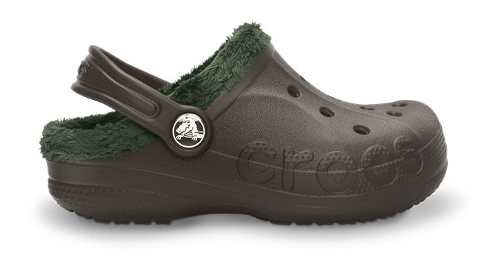 Crocs Espresso / Forest Kids' Baya Fleece Clog Kids' Fleece-Lined Shoes