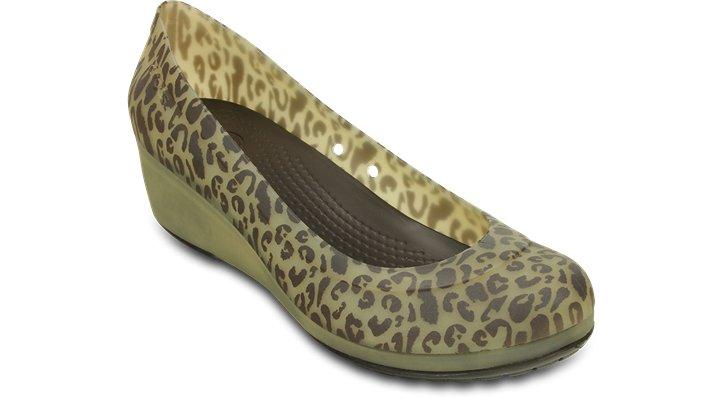 Crocs Espresso / Gold Carlisa Animal Graphic Mini Wedge Shoes