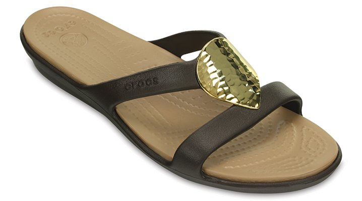 Crocs Espresso / Gold Women's Sanrah Embellished Sandal Shoes