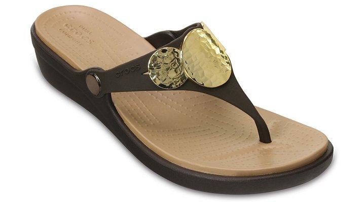Crocs Espresso / Gold Women's Sanrah Embellished Wedge Flip Shoes