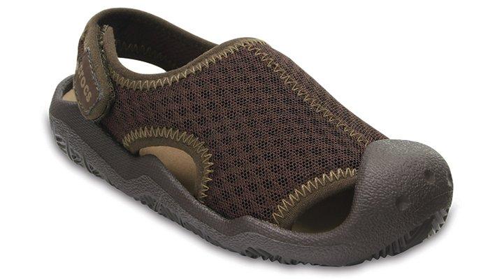 Crocs Espresso / Khaki Kids' Swiftwater Sandals Shoes