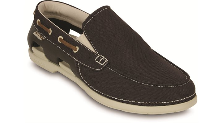 Crocs Espresso / Stucco Men'S Beach Line Boat Slip-On Shoes