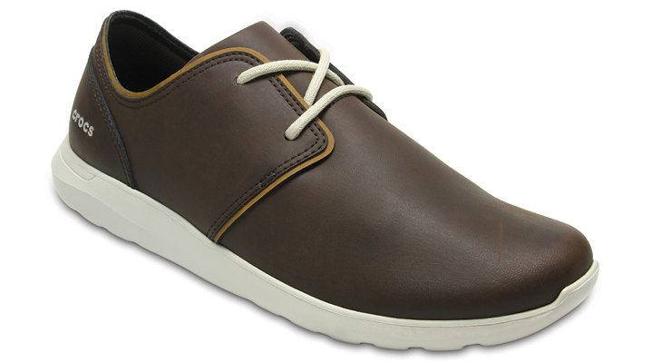 Crocs Espresso / Stucco Men's Crocs Kinsale Leather Lace-Up Shoes