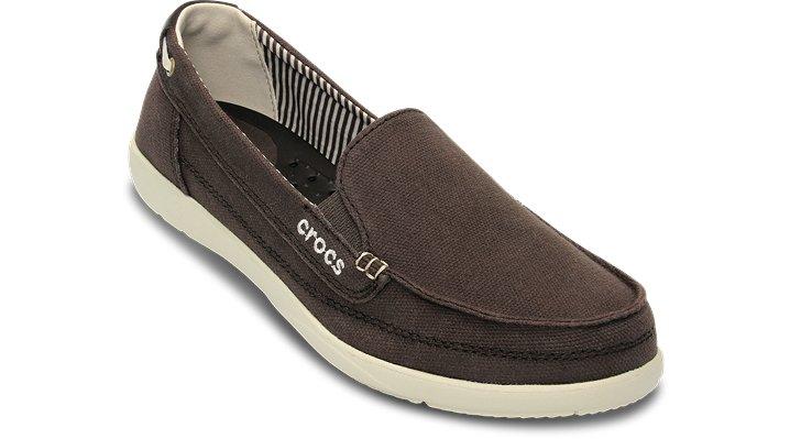 Crocs Espresso / Stucco Women's Walu Canvas Loafer Women's Canvas Slip-On Loafers