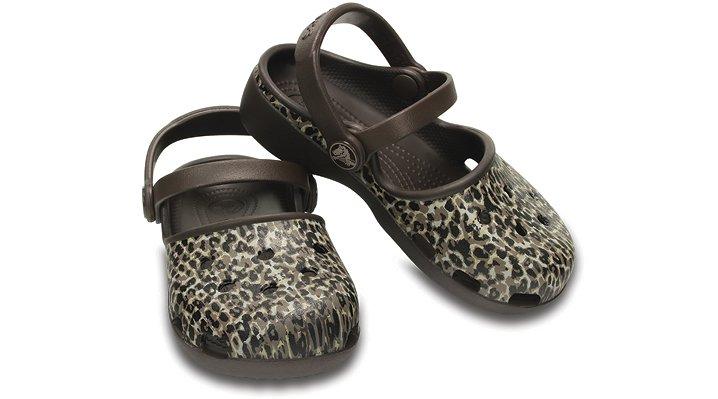クロックス 公式オンラインショップ【クロックス公式】【送料無料】【最短翌日お届け】 クロックス カリン レオパード クロッグ キッズ - Crocs Karin Leopard Clog Kids 19.5cm ブラウン クロッグ(定番) サンダル
