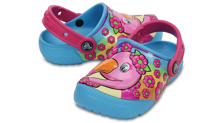 Crocs Flamingo / Electric Blue Kids' Crocs Fun Lab Clogs Shoes