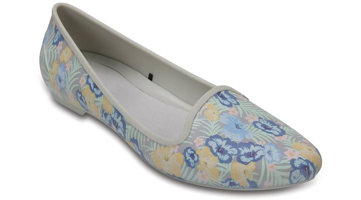 Crocs Floral / Gold Women's Crocs Eve Graphic Flat Shoes