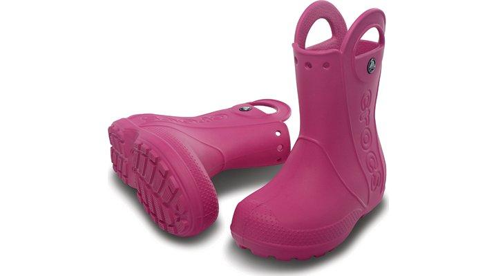 クロックス 公式オンラインショップ【クロックス公式】【送料無料】【最短翌日お届け】 ハンドル イット レイン ブーツ キッズ - Handle It Rain Boot Kids 14cm ピンク レインブーツ(長靴)