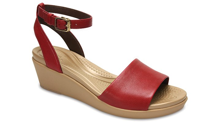 Crocs Garnet Women's Crocs Leigh-Ann Ankle Strap Leather Mini Wedge Shoes