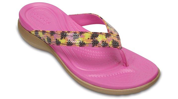 Crocs Gold Women's Capri V Graphic Sequin Flip Shoes