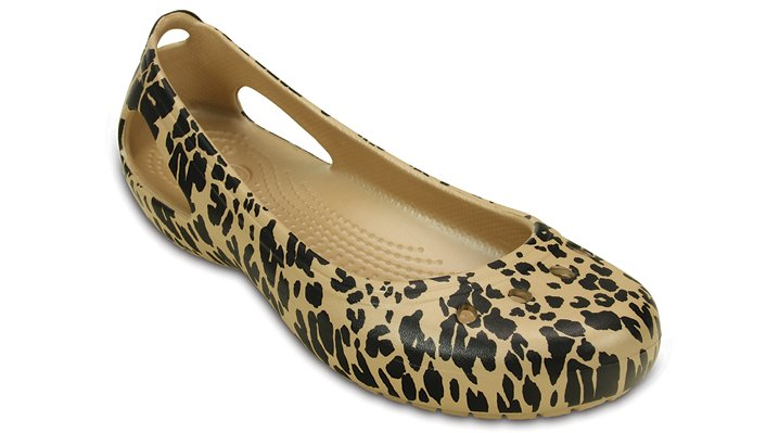 Crocs Gold Women'S Kadee Animal Print Flat Shoes
