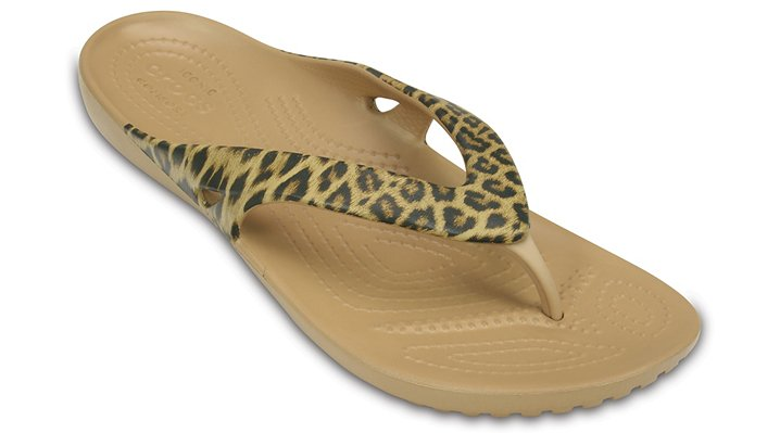 Crocs Gold Women'S Kadee Ii Leopard Print Flip Shoes