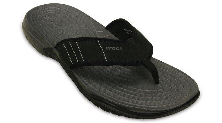 Crocs Graphite / Black Men'S Swiftwater Flip Shoes