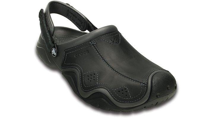Crocs Graphite / Black Men'S Swiftwater Leather Clog Shoes